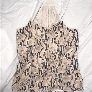 Snakeskin patterned fashion tank top
